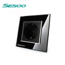 Sesoo DB1 szimpla kristályüveg dugalj, földelt, fekete