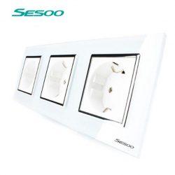 Sesoo3DW3 tripla kristályüveg dugalj földelt, fehér