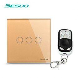 Sesoo Y603G aranybarna távirányítós 3 pólusú  kapcsoló